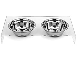 Cat and Dog Stainless Steel Food and Water Bowls with Stand - Helps With Messy Pets - Non-slip - Easy to clean - Attractive with any decor
