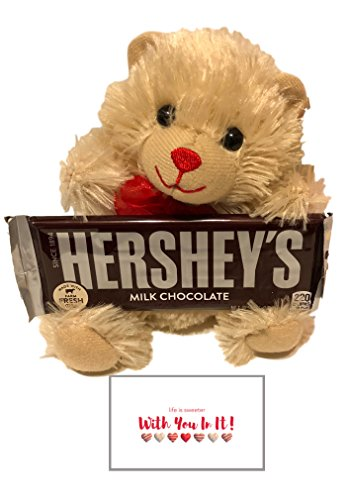 Him Design (Valentines Day Gluten-Free Bundle: Hershey's Milk Chocolate Bar Gift Set with Chocolate-Scented Teddy Bear and Card (Bundle of 3 Items) (Ivory Bear))