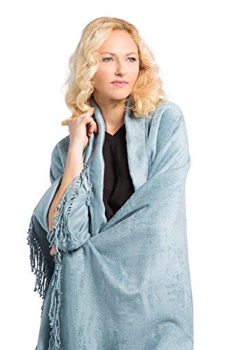 - Fishers Finery Micro Velvet Plush Throw Fleece Blanket; Gift Box Included (Blue)