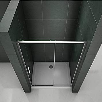 Aica 1600mm Sliding Shower Door Enclosure Chrome Cubicle 6mm Temperd Glass Screen