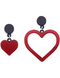 Womens Stainless Steel Acrylic Earrings, Classic Asymmetric Heart Love Symbol Studs Earrings