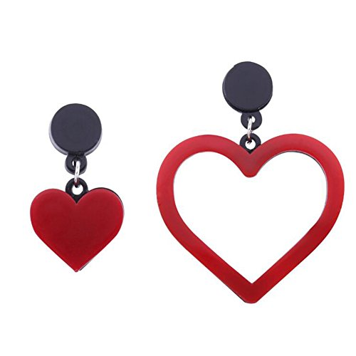 TEMEGO Womens Stainless Steel Acrylic Earrings, Classic Asymmetric Heart Love Symbol Studs Earrings,Red
