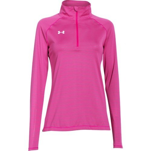 (Under Armour Womens Stripe Tech 1/4 Zip - Pink - Large)