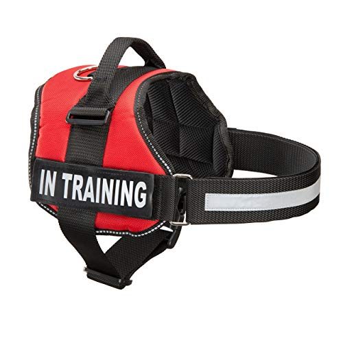 Industrial Puppy Service Dog in Training Vest with Reflective Strap & Removable Patches - Heavy Duty Nylon Straps and Handle for Dogs - 7 Sizes, ID Patch Options, Service Dog Vest Harness with IT tag