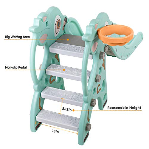 Naice Kids Slide, Upgraded Toddler Climber Slide, Sturdy Frame with Basketball Hoop, Indoor Outdoor Playground Toy, Kids Gift