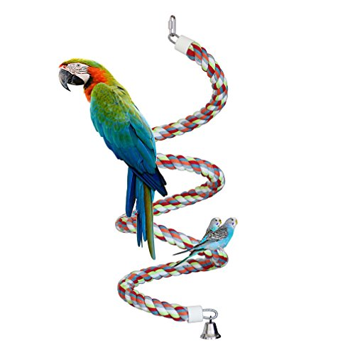 KINTOR Rope Bungee Perch Bird, 83inch Pure Natural Colorful Bead Cage Chewing Toys for Small Medium Parrot (83inch Length)