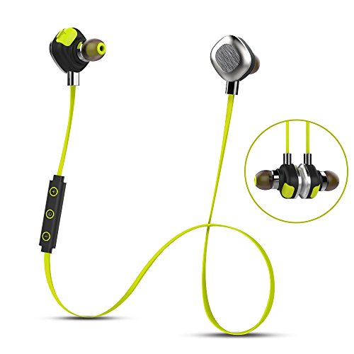 mifo U5 Plus Bluetooth Headphones in Ear, Magnetic Aluminum Design IPX7 Waterproof apt-X Earphone, 8 Hours Playtime Noise Canceling NFC Stereo Headset with Mic for Sports (Yellow)
