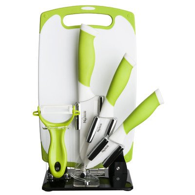 New England Cutlery 6 Pieces Ceramic |3-Inch|4-Inch|5-Inch Knife Set with Cutting Board - Green