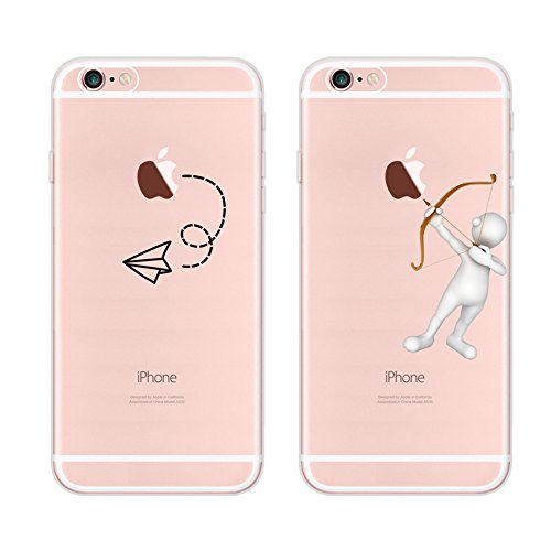DOMIRE iPhone 6 Plus 6s Plus Case Soft Silicone Couple Cases Cute Cartoon Character TPU Clear Cases [Anti-Slip] [Thicken] Good Grip Protective Case with Adorable Print for iPhone 6 Plus 5.5 (Cartoon Character Couples)