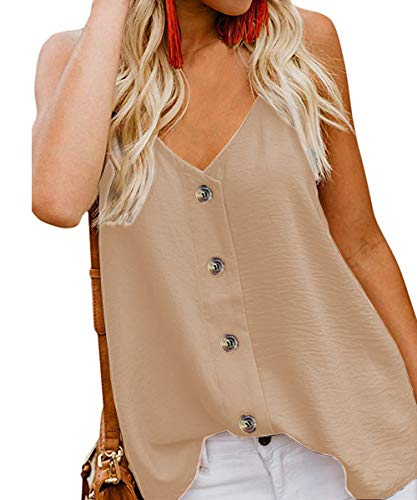 (LAFIZZLE Women's V Neck Chiffon Loose Fit Sleeveless Tank Tops Strappy Summer Button Down Cami Shirts Blouse (Khaki,)