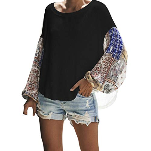 Colorblock Sweater Top, Duseedik Women Casual Plus Size Loose Shirt Stitching Long-Sleeve Knit Blouse Tops Black