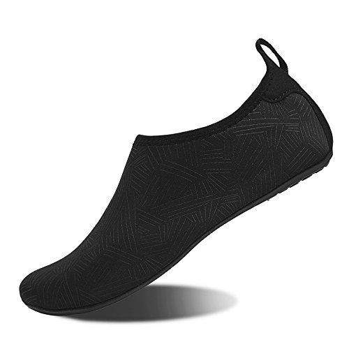 Water Shoes for Womens and Mens Summer Barefoot Shoes Quick Dry Aqua Socks for Beach Swim Yoga Exercise (JH.Black, 36/37)