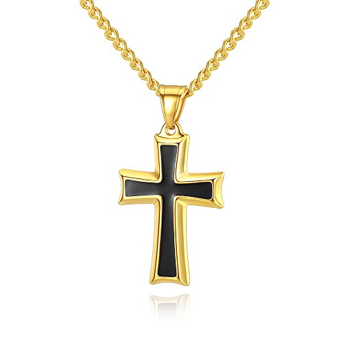 """Reve Stainless Steel Black & Silver Cross Pendant Necklace for Men Women, 20-24"""" Curb Chain (Gold: 20"""
