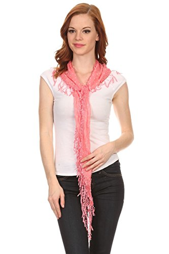 Triangle Scarf Pattern - LL Lacy Scarf Necklace Fringe Fun Hip Flower Pattern Triangle Sheer Womens Accessory,Pink Slim Triangle,74 long x 14 wide + 2.5 inch tassel