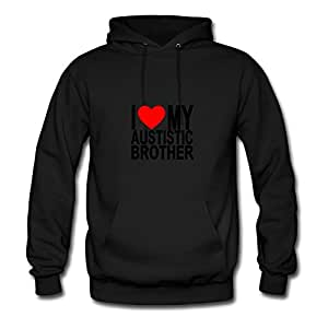 Customized X-large Sweatshirts Black I_love_my_autistic_brother Image Women Organic Cotton S