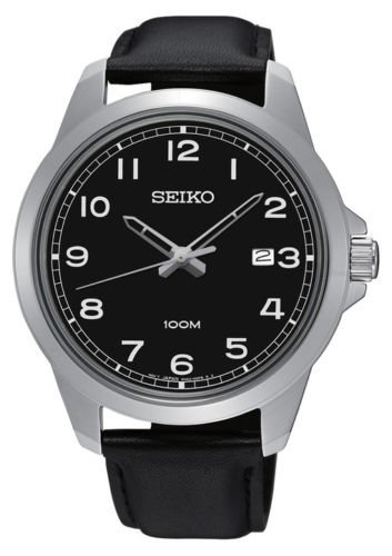 Seiko-Black-Dial-Leather-Strap-Mens-Watch-SUR159