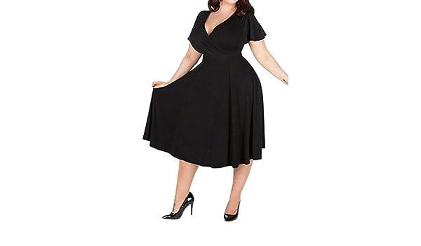 Vestido de gran tamaño de la falda de las mujeres gordas mm otoño nuevo vestido de manga corta con cuello en V de color sólido suelto (Color : Black ...