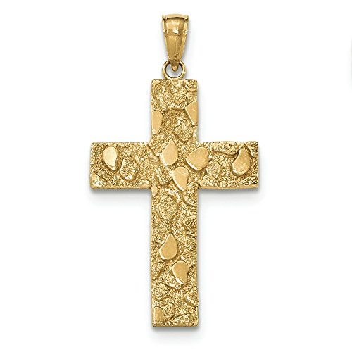 14K Yellow Gold High Polish and Textured Finish Nugget Style Cross Pendant -
