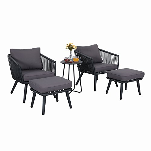 Cheap PHI VILLA 5-Piece Conversation Set Patio Furniture Set – Rattan and Steel, Grey