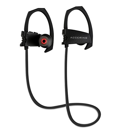 Bluetooth Running Headphones, Accering Wireless Sports Stereo In-Ear Neckband Headset Noise Cancelling and IPX5 Sweatproof Earbuds w/ Mic