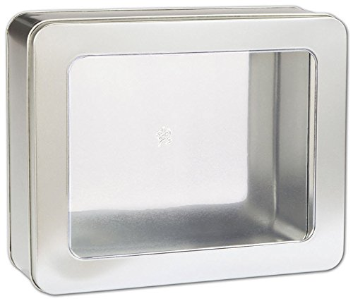 - Food & Gourmet Boxes - Silver Tin with Window, 10 x 8 1/4 x 3 1/4