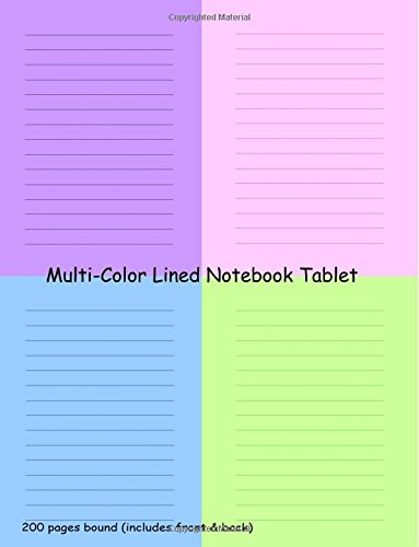 Read Online Multi-Color Lined Notebook Tablet ebook