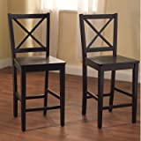 Kitchen Bar Countertop Target Marketing Systems Set of 2 Virginia Cross Back Stools, Set of 2, Black