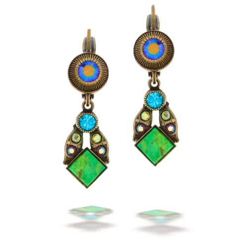 La Contessa Green Square Stone Jeweled Earrings Designed by Mary DeMarco E8874