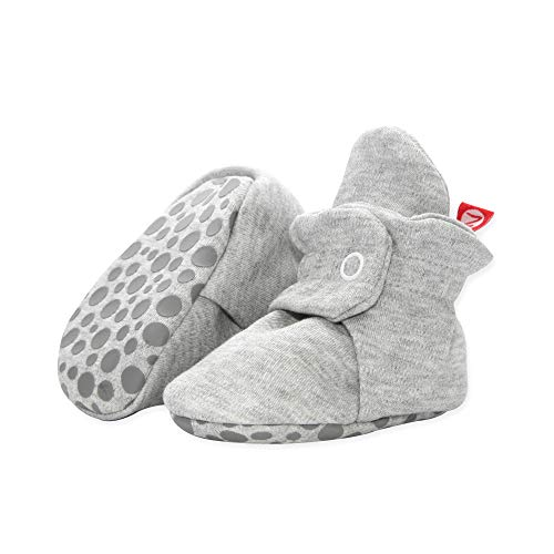Zutano Cotton Baby Booties with Grippers, Gray Heather, 6M
