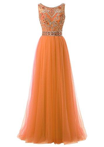 Callmelady Cuello Alto Tul 2017 Vestidos de Fiesta Largos para Mujer Vestidos de Gala Naranja