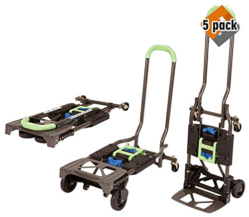 Cosco Shifter 300-Pound Capacity Multi-Position Heavy Duty Folding Hand Truck and Dolly, Green, 5 Pack (Cosco Shifter Multi Position Folding Hand Truck)