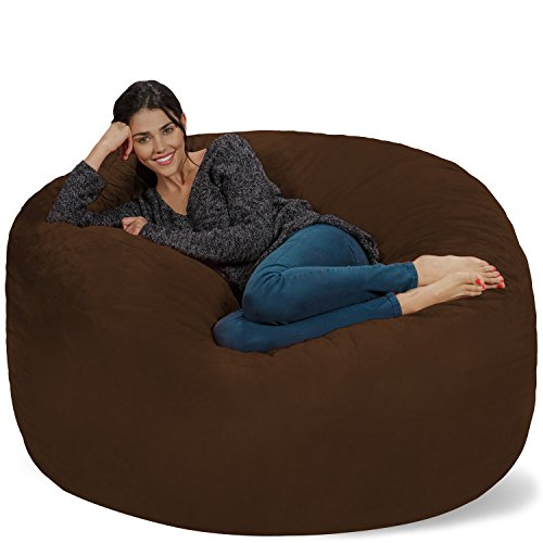 Chill Sack Bean Bag Chair: Giant 5' Memory Foam Furniture Bean Bag - Big Sofa with Soft Micro Fiber Cover - - Bag Bean Brown