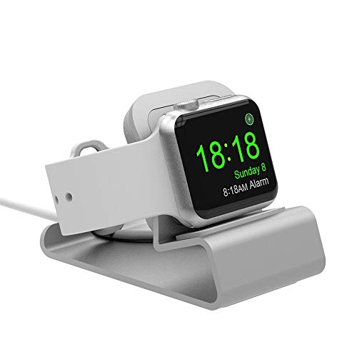 Cywulin Compact Stand Designed for Apple Watch Series 4, Series 3, Series 2, Series 1 Charger Holder Cradle Bracket Charging Dock Stand Station Compatible for iWatch 44mm 42mm 40mm 38mm (Silver)