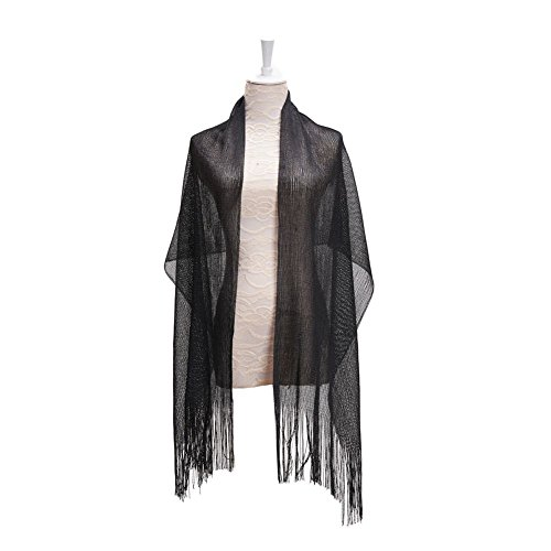 Wrap Shawl Women Scarf for Wedding Evening Prom Party,Glitter Metallic Bridal Scarves,10 Colors ()