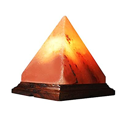 SALT GEMS Pyramid Himalayan Salt Lamp Air Purifier - Pink Salt Decoration Lamp With Wood Base And Dimmer Cord | 15 Watt Bulb