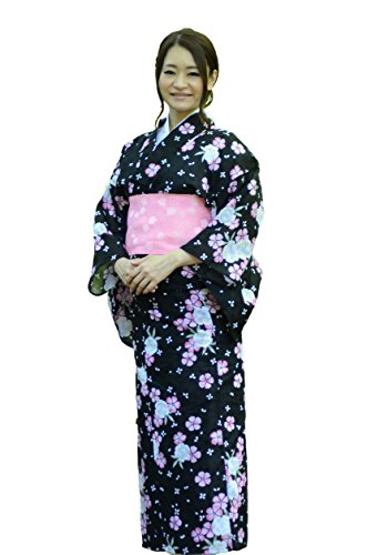 sakura Women Japanese Yukata Pre tied obi belt set with sandals / Black pink sakura pattern