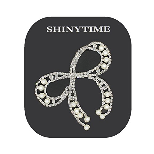 SHINYTIME Crystal Rhinestones Appliques Flower Sequins Patches with Bow-tie Crystals for Birthday Bridal Shower Wedding Cake Vase Decorations Party Christmas Supplies