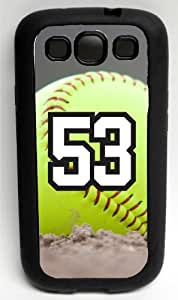 Softball Sports Fan Player Number 53 Decorative Black Rubber Samsung Galaxy S3 Case