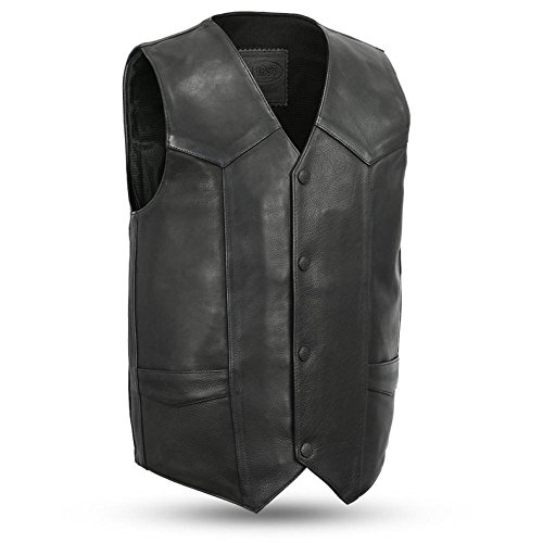Snap First 4 Manufacturing - Tombstone 1.4mm Leather 4 Snap Motorcycle Vest with Gun Pockets Solid Back Western Bottom