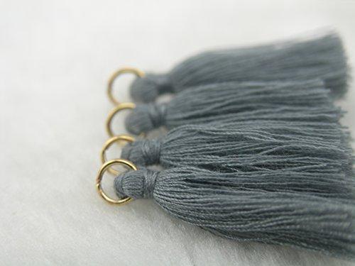 50pcs Grey Silky Handmade Tiny(1.4) Soft Tassels, Mini Tassels, Spring Colors, Colorful Tassels, Earring Tassels