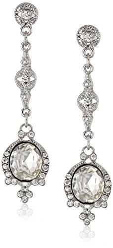 Downton Abbey Silver-Tone Crystal Linear Drop Earrings