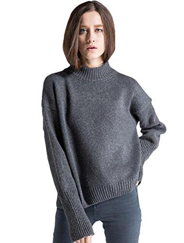 Vogstyle Suéter De Cuello Alto Mujer Suéter Casuales Estilo-3 gris