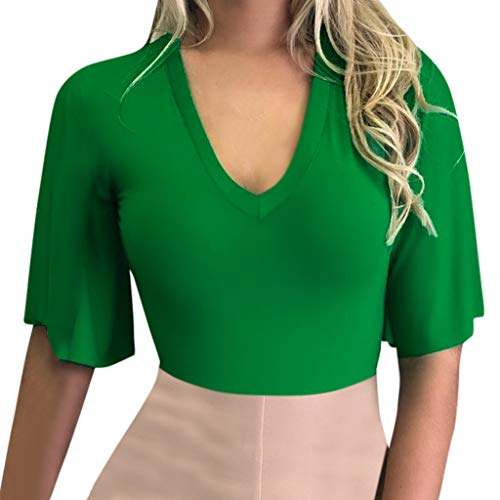 (NCCIYAZ Womens Top T-Shirt Flare Short Sleeve Deep V-Neck Solid Shirt Ladies Stylish Sexy Solid Blouse(S(4),Green))
