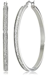 Stainless Steel Glitter Hoop Earrings (50 mm Diameter)