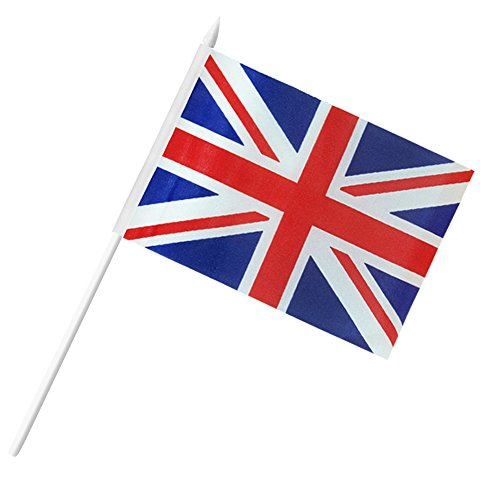 "British Union Jack Stick Flag, ANLEY Great Britain 5x8 inch HandHeld Mini Flag With 12"" White Solid Pole - Vivid Color and Fade Resistant - UK 5 x 8 inch Hand Held Flags With Spear Top (1 Dozen)"