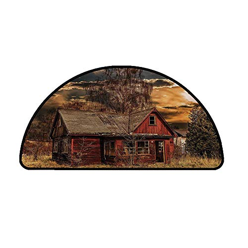 Scenery Decor Comfortable Semicircle Mat,Scary Horror Movie Themed Abandoned House in Pale Grass Garden Sunset Photo for Living Room,39.3