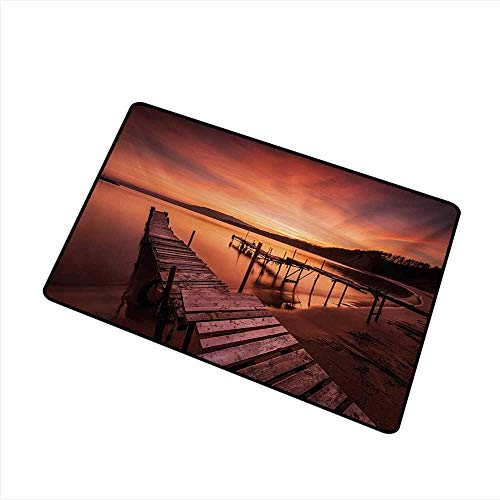 Axbkl Thin Door mat Orange Old Rustic Pier on The Beach and Romantic Tranquil Sky Pure Twilight Concept Scenic W35 xL47 Quick and Easy to Clean