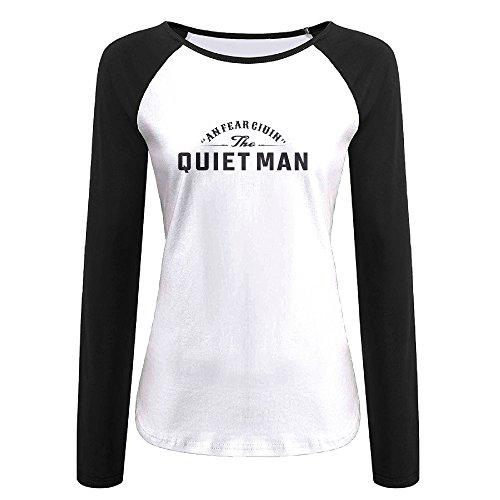 Creamfly Womens Quiet Man Long Sleeve Raglan Baseball Tshirt XXL