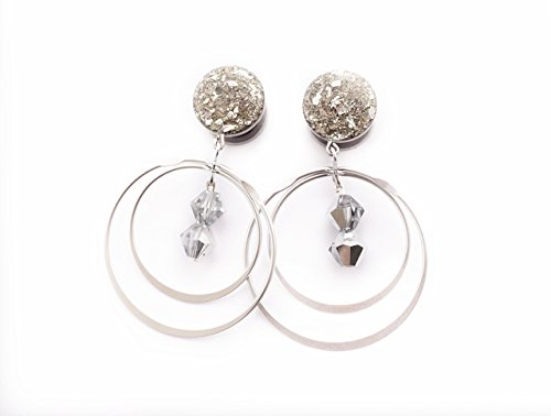Handmade Silver Crushed Glass with Rotating Hoop Gem Plugs - 6g to 3/4inch (16 Dangle Gem Gauge)