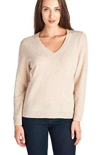 Sweater Beige Cashmere (Mariyaab Women's 100% Cashmere Soft Long Sleeve V-Neck Sweater (1301, Beige, L))